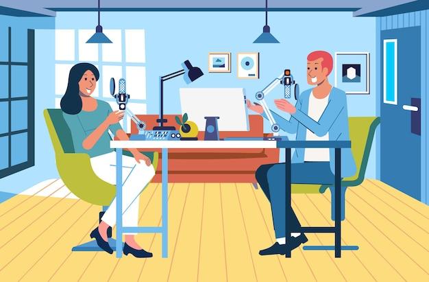 Радиоинтервью между дикторами и источниками в студии, интерьер современной студии.