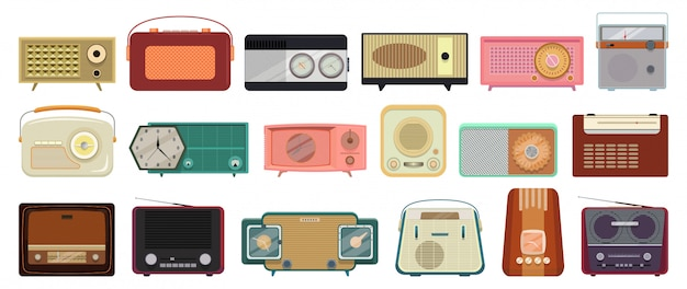 Radio isolated cartoon set icon.   illustration vintage wireless  .