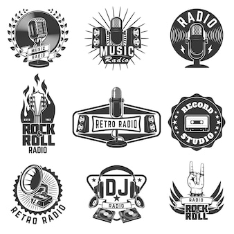 Radio labels. retro radio, record studio, rock and roll radio emblems