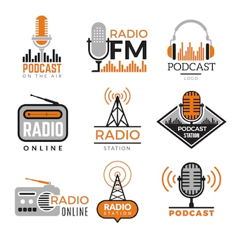 Radio logo. podcast towers wireless badges radio station symbols collection