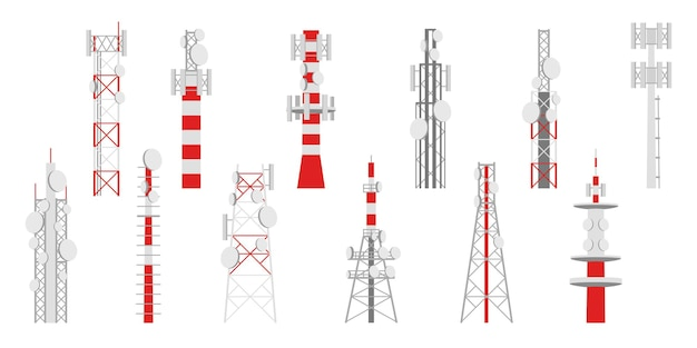Radio masts. telecom transmitter towers, television or internet and broadcasting antenna telecommunication satellite signal network, vector isolated set