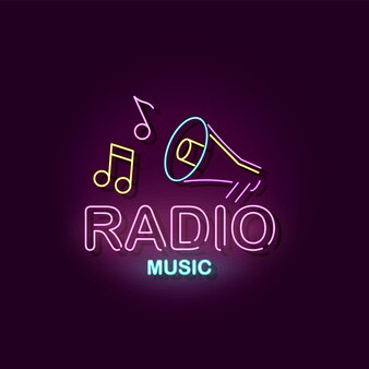 Radio music  colorful neon sign with megaphone icon and musical notes