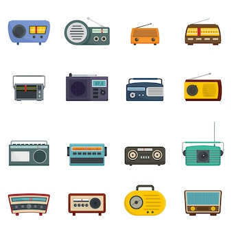 Radio music old device icons set vector isolated