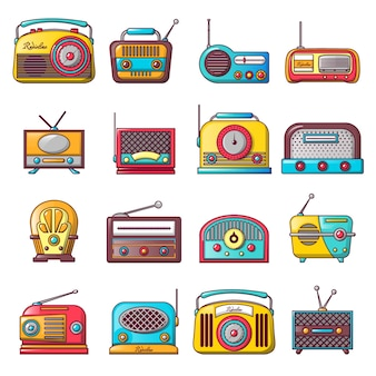 Radio music old device icons set