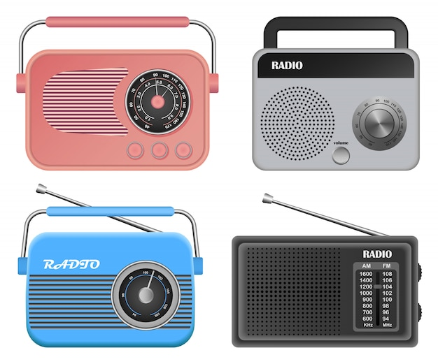 Radio music old device mockup set