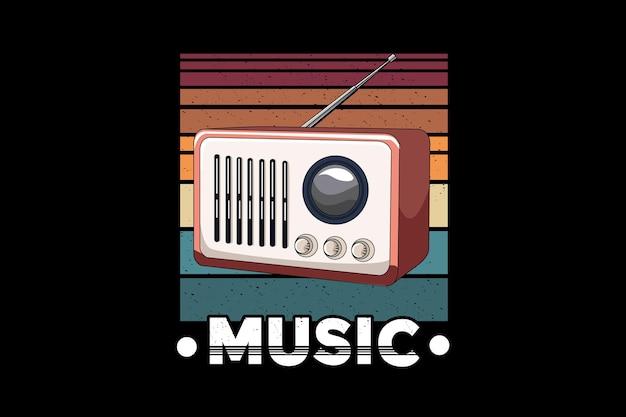 Radio music retro illustration design retro style