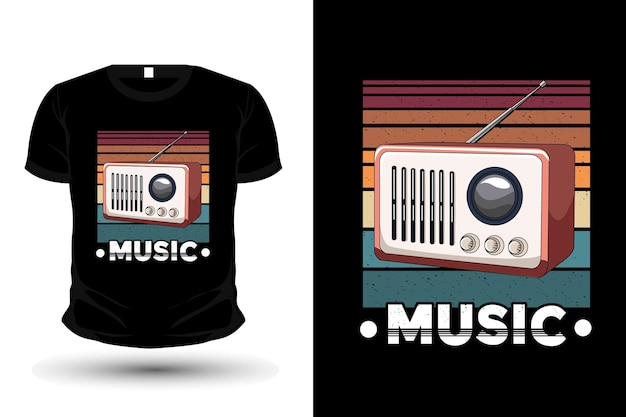 Radio music retro illustration t shirt design retro style