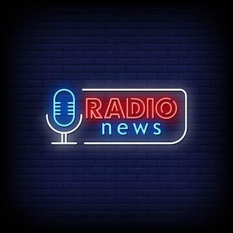 Radio news neon signs style text