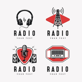 Radio podcast broadcasting logo  emblem