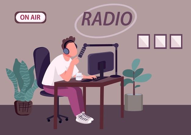 Radio podcast show flat color vector illustration. professional radio dj, news host 2d cartoon character with recording studio on background.