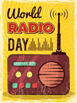 ラジオのポスター。マイク放送スタジオのマイクとスピーカーのプラカードデザイン