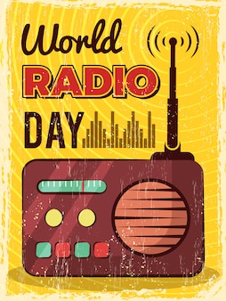 Radio poster. microphone broadcast studio mic and speakers  placard design