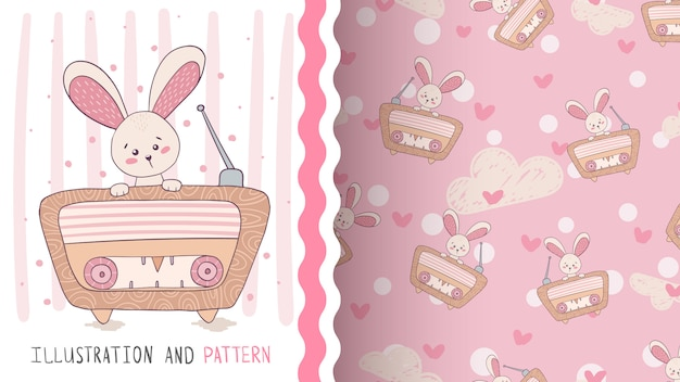 Radio rabbit music seamless pattern