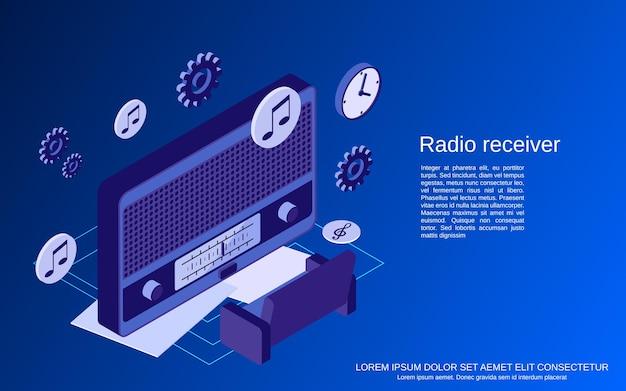 Radio receiver, broadcasting flat isometric vector concept illustration