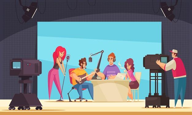 Registrazione radiofonica con spettacolo dal vivo e illustrazione piatta musicale