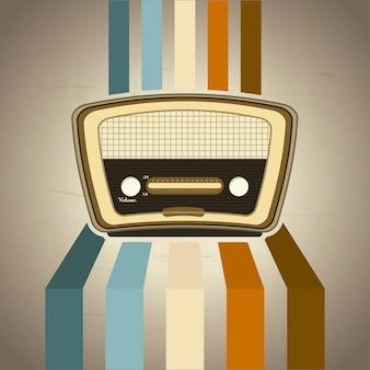Radio retro over grunge background vector illustration