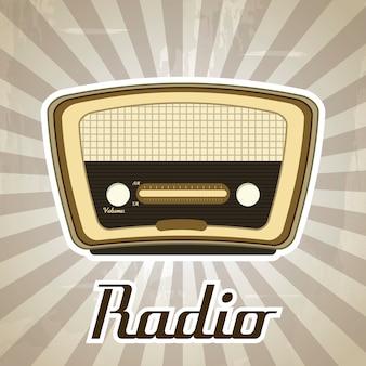 Радио ретро над гранж фон векторные иллюстрации