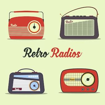 ラジオレトロスタイルフラットベクトル