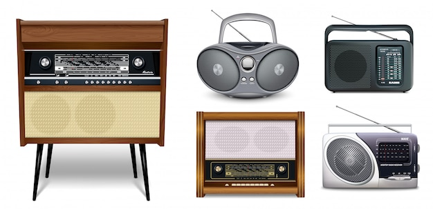 Radio retro vector set