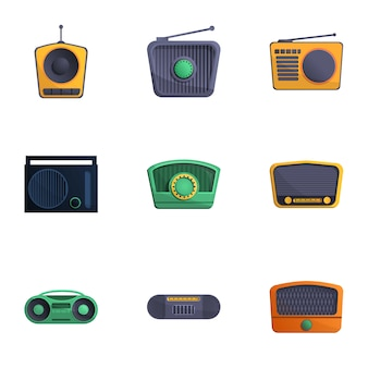 Radio set, cartoon style