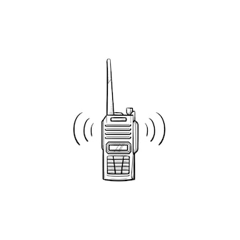 안테나 손으로 그린 개요 낙서 아이콘이 있는 라디오 세트. 경찰 라디오 및 워키 토키, 휴대용 라디오 개념. 인쇄, 웹, 모바일 및 흰색 배경에 인포 그래픽에 대한 벡터 스케치 그림.