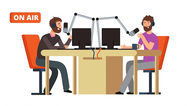 Radio show. broadcasting radio dj talking with microphones on air.