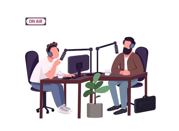 라디오 쇼 호스트 및 게스트 플랫 컬러 얼굴없는 캐릭터. 초청 전문가와의 라이브 인터뷰. 웹 그래픽 디자인 및 애니메이션에 대한 녹음 스튜디오 격리 된 만화 그림에서 얘기하는 남자