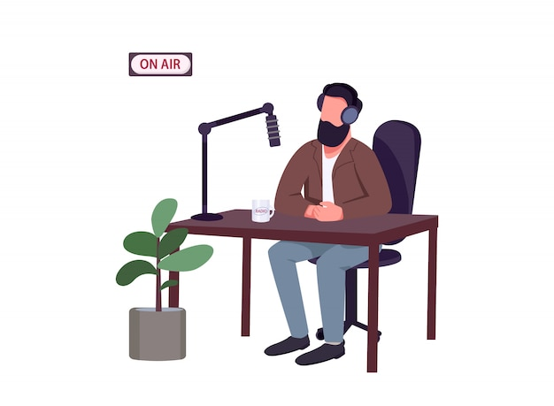 Radio show host flat color vector faceless character. caucasian man talking to microphone isolated cartoon illustration for web graphic design and animation.