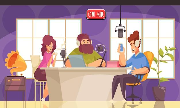 フラットイラストを話している人々とのラジオ番組