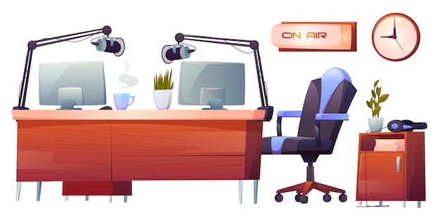 Radio station studio interior stuff set, clip art