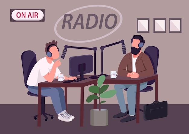 Radio talk show show flat color illustration
