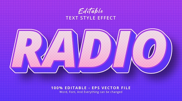 誇大広告のグラデーションスタイル効果、編集可能なテキスト効果を備えたラジオテキスト