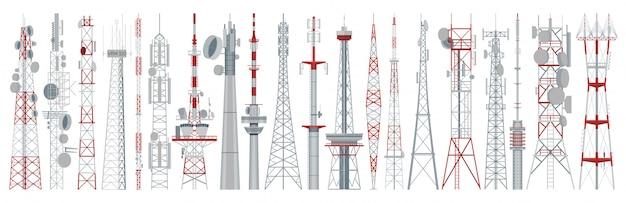 라디오 타워 격리 된 만화 아이콘을 설정합니다. 만화는 아이콘 방송 안테나를 설정합니다. 그림 흰색 배경에 라디오 타워입니다.