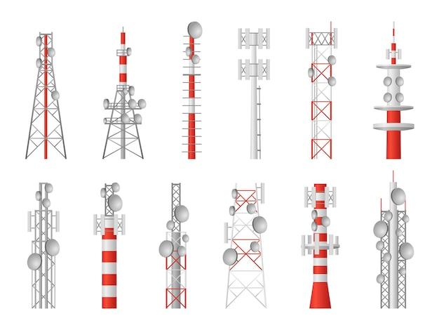 電波塔。テレコムマスト放送機器、ワイヤレスステーションタワー型送信機衛星ワイヤレス信号、通信グローバルテクノロジーベクトルセット