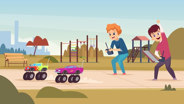 Radio toys. happy excited kids playing with smart radio controlled cars vector cartoon characters. play radio car toy, illustration childhood game