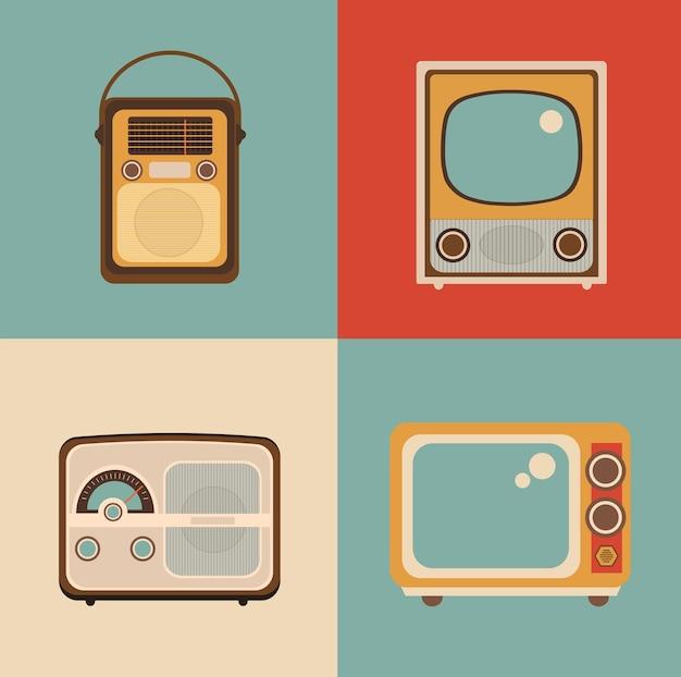라디오 tv 사진은 복고풍 팝 아트 스타일로 만들어집니다.