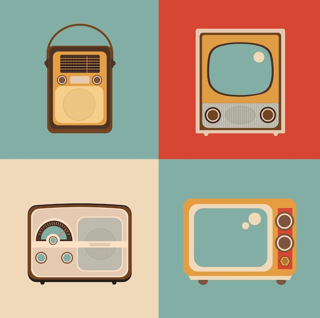 Radio tv picture is made in the style of a retro pop art