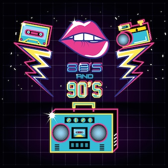 Radio with icons of eighties and nineties retro