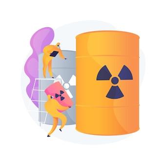 放射性バレル。生物兵器を身に着けた防護服を着た人々。化学製品。有毒物質、有毒な樽、核の危険。