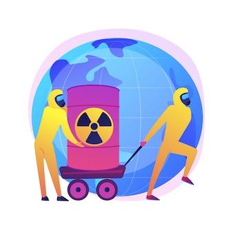 방사성 배럴. 생물학적 무기로 보호 복을 입은 사람들. 화학 제품. 독성 물질, 독성 통, 핵 위험.