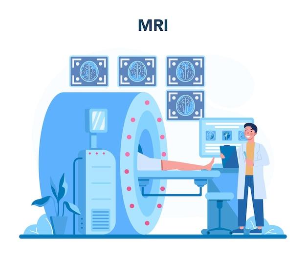 방사선과 개념. 컴퓨터 단층 촬영, 건강 관리 및 질병 진단의 아이디어로 인체의 mri 이미지를 검사하는 의사. 외딴