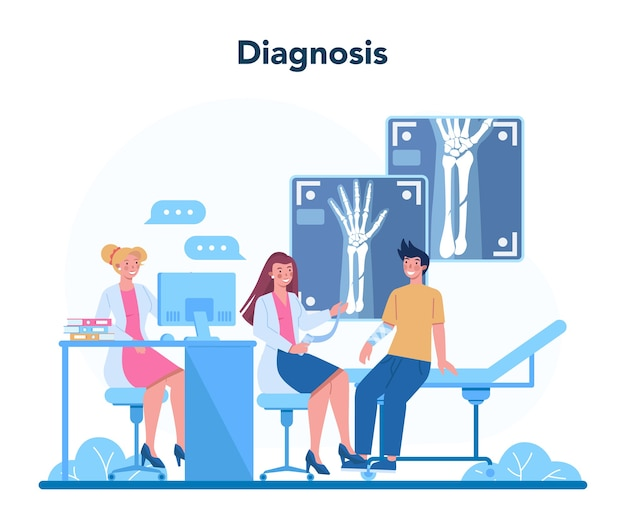 Иллюстрация концепции радиолога в мультяшном стиле