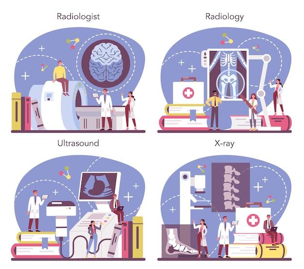 방사선과 개념을 설정합니다. 컴퓨터 단층 촬영, mri 및 초음파로 인체의 x- 선 이미지를 검사하는 의사. 건강 관리 및 질병 진단에 대한 아이디어. 외딴