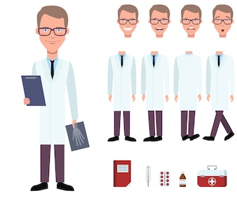 Radiologist in lab coat holding x-ray image character set