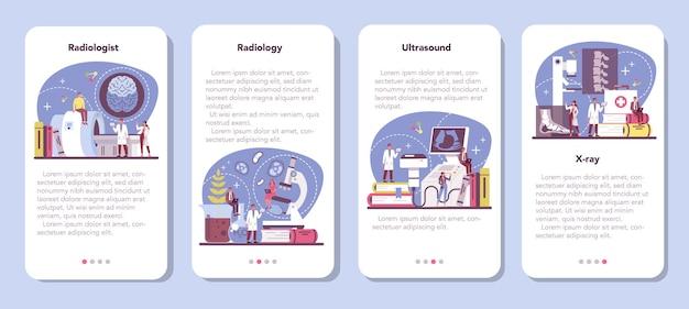 Radiologist mobile application banner set.