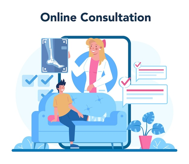 Radiologist online service or platform. doctor examing x-ray image of human body, mri and ultrasound. online consultation. isolated vector illustration