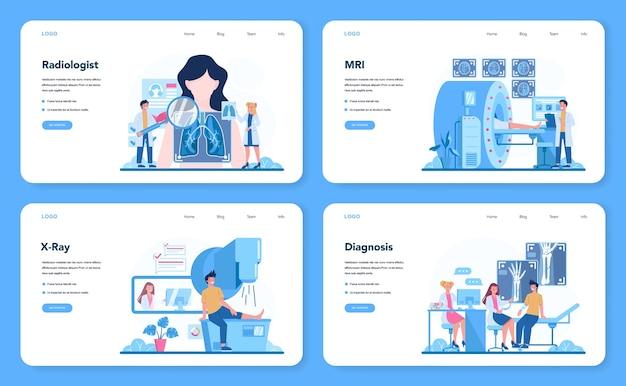 Radiologist web banner or landing page set.
