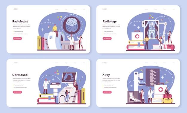 放射線科医のウェブバナーまたはランディングページセット