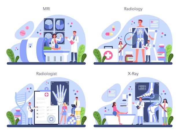 放射線の概念セット。ヘルスケアと病気の診断のアイデア。