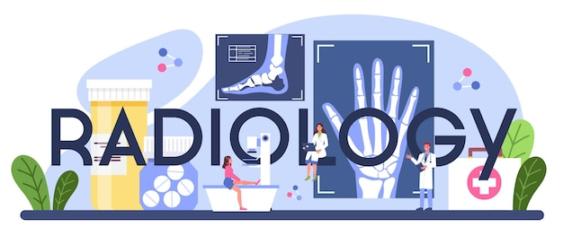 Radiology typographic header. idea of health care and disease diagnosis.
